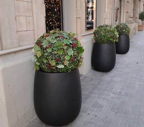 Ideas para navidad decorar una tienda con macetas for Que plantas poner en una jardinera
